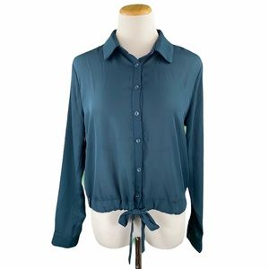 Everly Tie Waist Long Sleeve Button Down Blouse